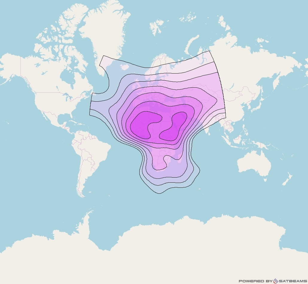 Arabsat 5C at 20° E downlink C-band Wide beam coverage map