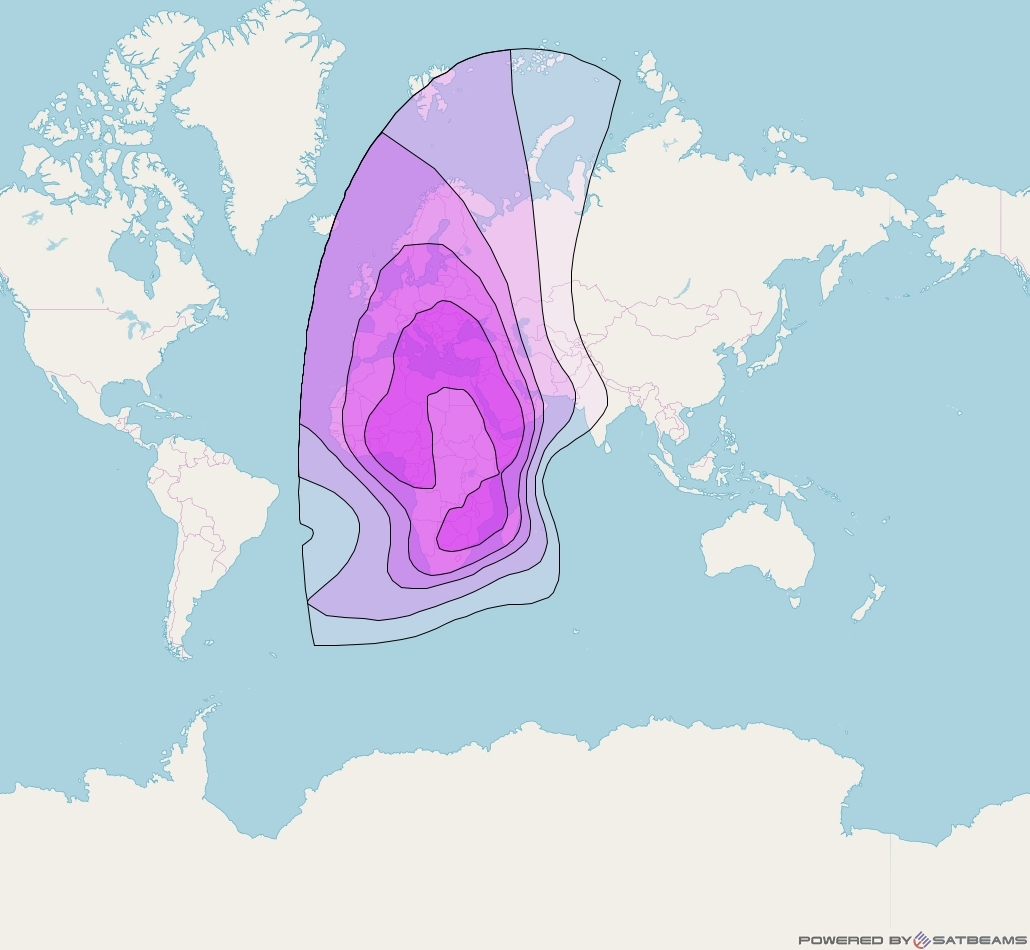 Express AM6 at 53° E downlink C-band Fixed Zone 2 beam coverage map